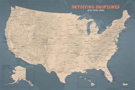 map skydiving poster dropzones usa 24x36 slate maps tan