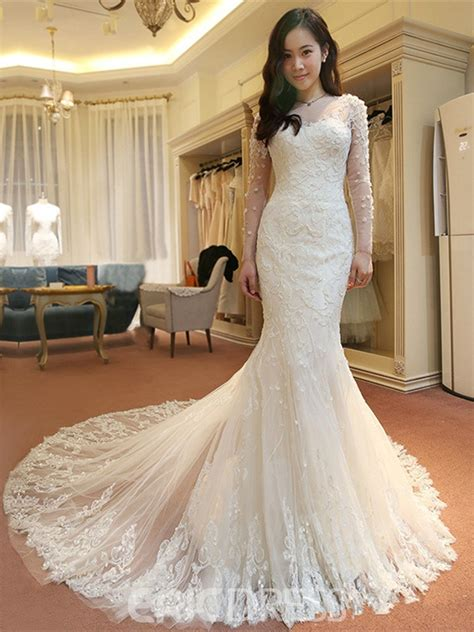 ericdress charming long sleeves lace mermaid wedding dress