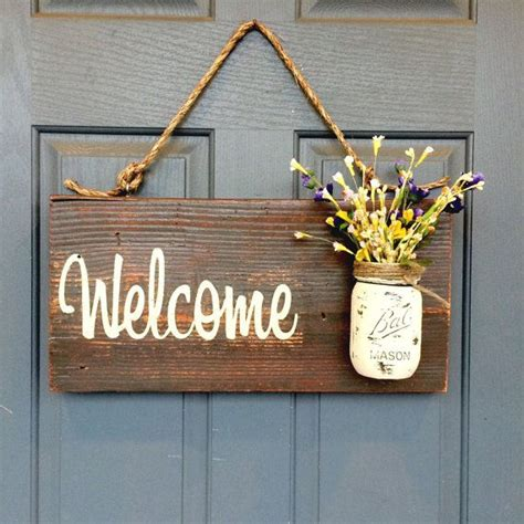 Rustic Country Home Decor Front Porch Welcome Sign Spring