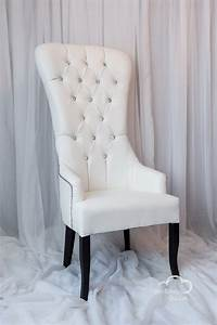 White leather high back studded chair for Chair back covers for leather chairs
