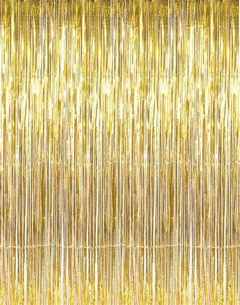 Foil Curtain Backdrop by Giftexpress Metallic Gold Foil Fringe Curtain