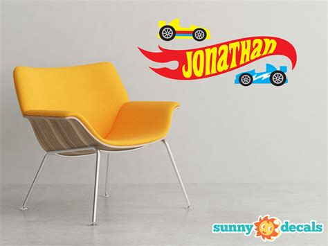 personalized race car ribbon fabric wall decal sunny decals