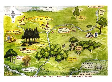 Map Of The Hundred Acre Woods -winnie The Pooh By E.h