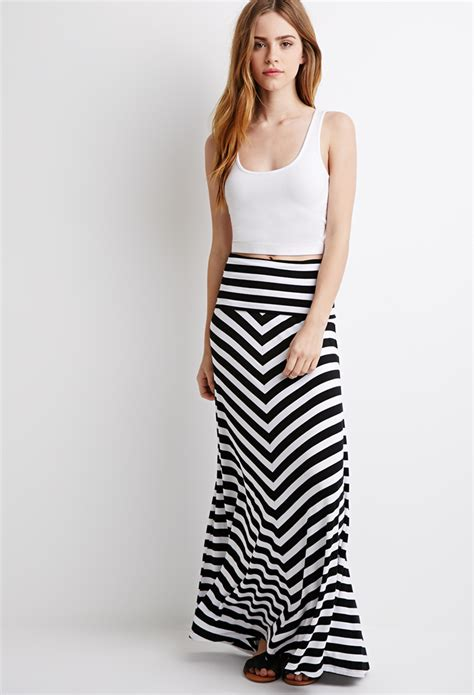 lyst forever 21 stripe maxi skirt in black