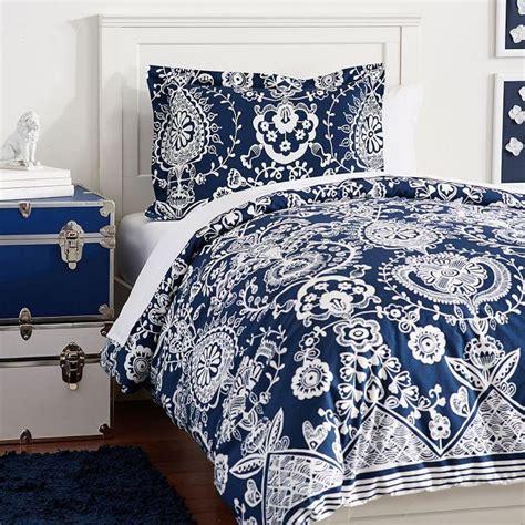 Blue And White Duvet Cover by Textured Navy Chevron Duvet