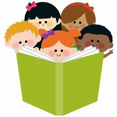 Reading Children Illustration Vector Ethnic Multi Happy