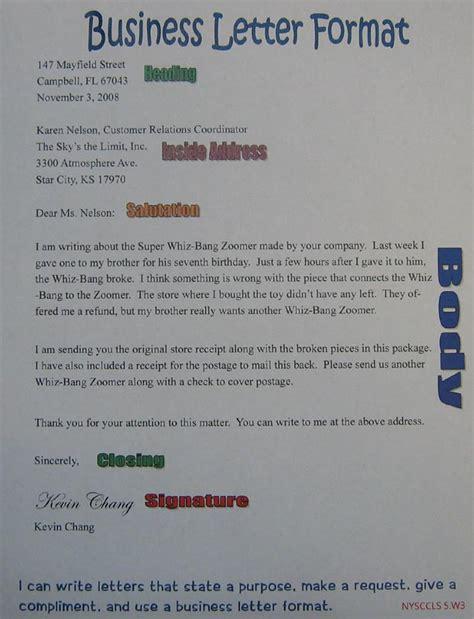 business letter anchor chart  grade sra imagine