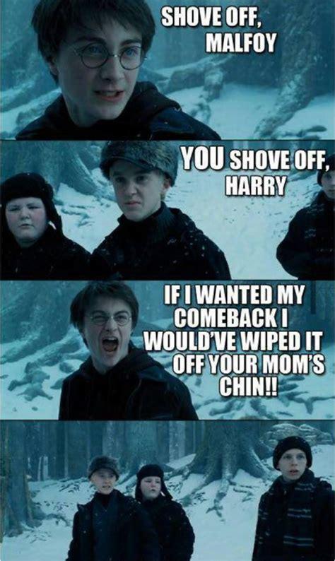Funny Comeback Memes Tumblr - harry potter vs malfory