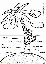 Coloring Pages Island Nature Palm Printable Monkey Trees Tropical Tree Ellis Palma Sheet Drawings Monkeys Children Sheets Pencil Colour Getdrawings sketch template
