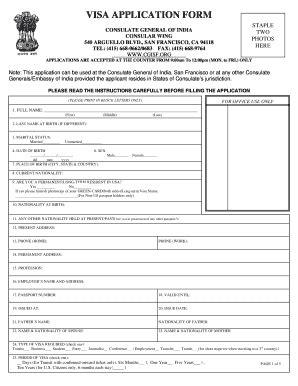 indian visa application form  san francisco fill