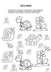 english worksheet lets colour biglittle  images