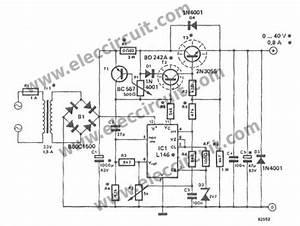 0 40v adjustable voltage regulator at 1a eleccircuitcom With variable 4 a 25v power supply