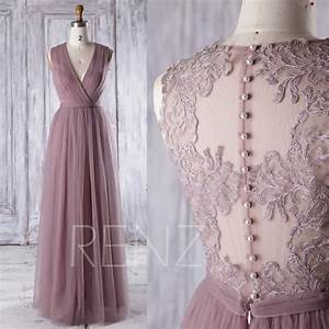 dusty rose mesh bridesmaid dress deep v neck wedding With dusty rose wedding dress