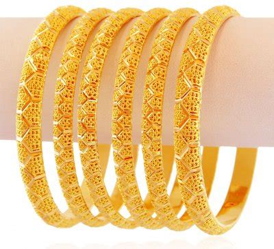 22k cutwork gold bangles set 6 pc bast17794 fancy 22k gold bangles designed in dull