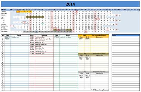 Calnedar Template by Calendar Template 2014 Excel Sanjonmotel
