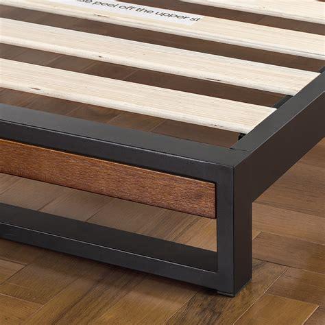 ironline metal wood platform bed headboard box