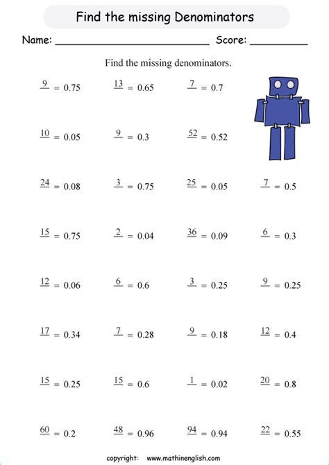 missing denominators fractions printable grade  math