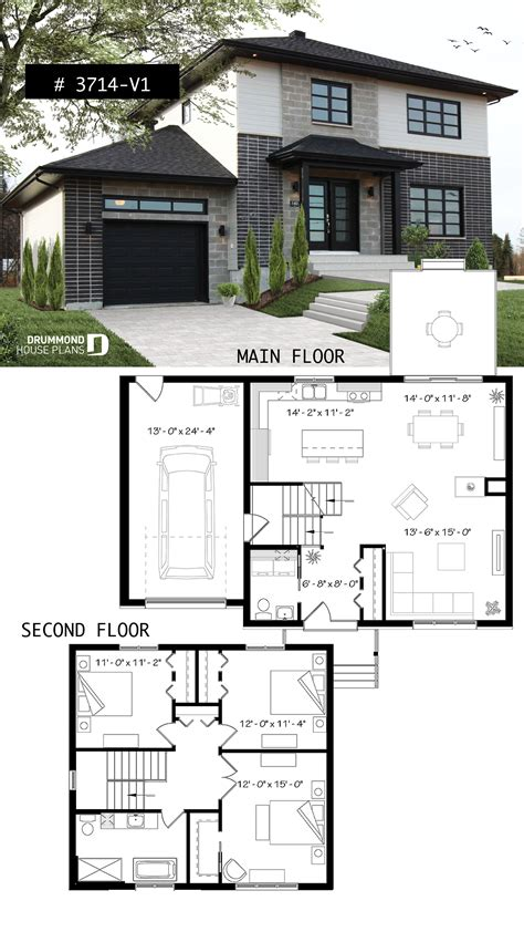 Zweifamilienhaus Grundriss Modern by Two Story Contemporary Home Plan With Garage Open Dining