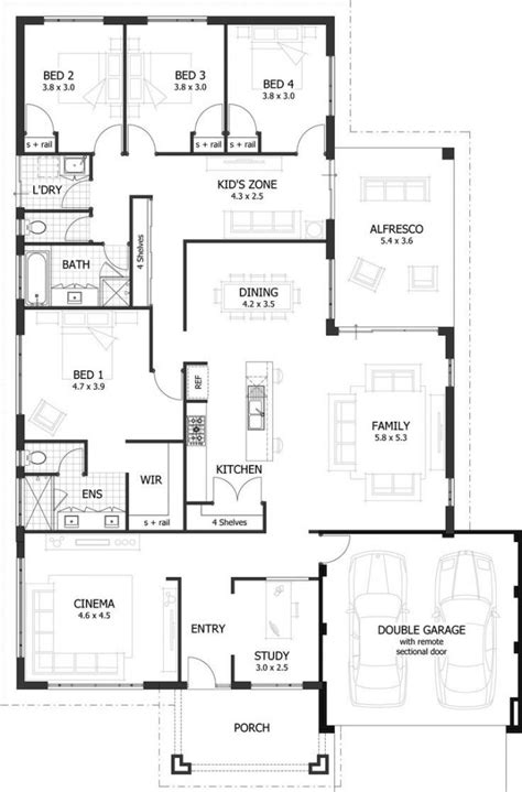 Lovely 4 Bedroom Floor Plans For A House  New Home Plans