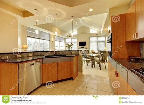 large modern wood kitchen  living room  high