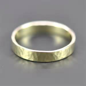 14k green gold ring 4mm wide hammered wedding band or fashion