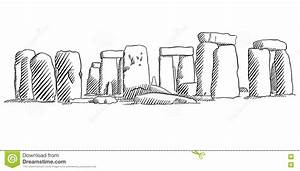 Stonehenge, England Historical Monument Sketch Stock ...