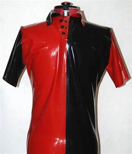 Mens Latex Polo Shirt Red and Black – Fetasia Latex
