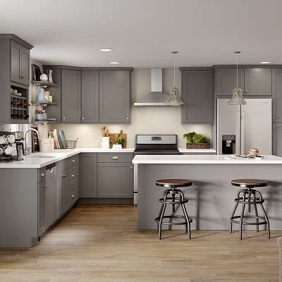 cambridge base cabinets  gray kitchen  home depot