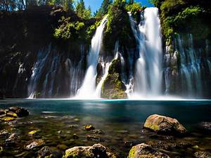 Burney Falls Northern California Turquoise Blue Water Rock