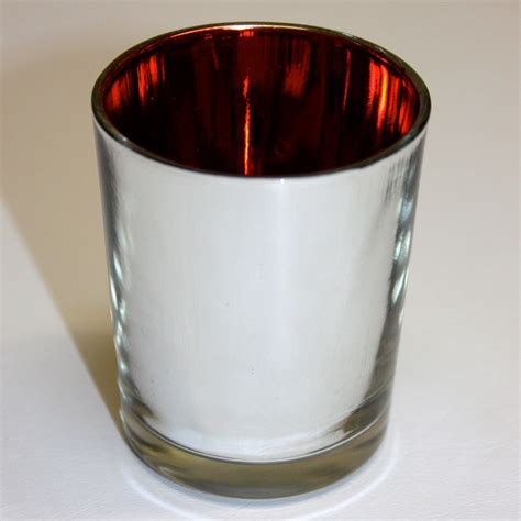 mirrored tea light candle holders silver mirrored with red interior glass tealight holders