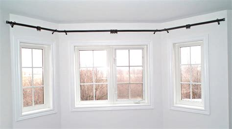 large bay window curtain rods home design ideas