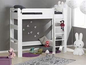 Lit mezzanine chambre enfant london blanc for Stickers chambre enfant avec mal de dos et matelas