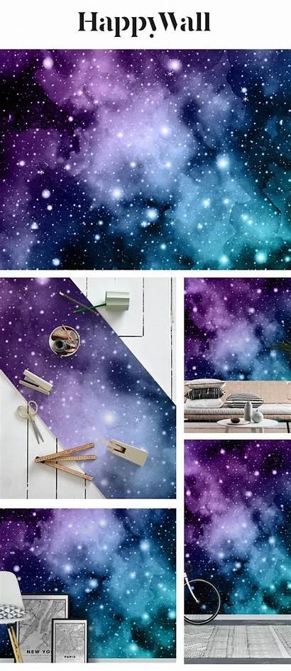Galaxy Nebula Teal Purple Space Mural Happywall