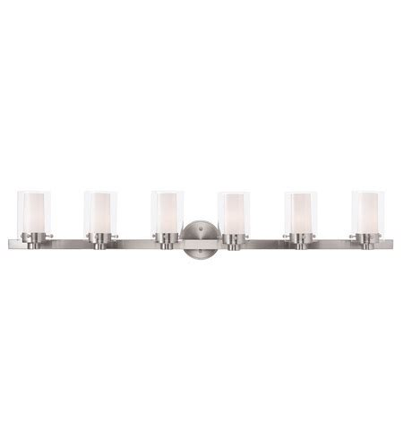 48 Inch Bathroom Light Fixtures by Livex 15456 91 Manhattan 6 Light 48 Inch Brushed Nickel