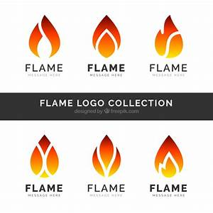 Set of six flame logos in flat design Vector | Free Download