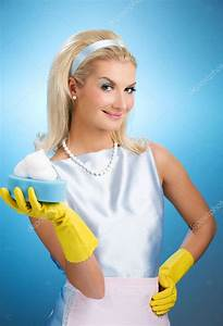 Housecleaning Duties Beautiful Happy Housewife Stock Photo Nejron 2084485
