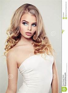 Sexy Fashion Model With Blond Curly Hair Stock Photo