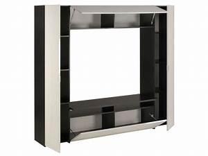 Meuble Rangement Papier Conforama : meuble tv think coloris blanc noir vente de meuble tv ~ Dailycaller-alerts.com Idées de Décoration