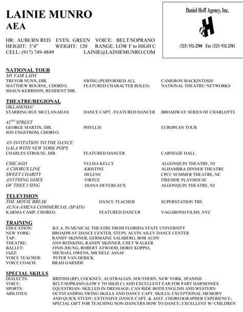 How To Make A Broadway Resume by Lainie Munro Resume