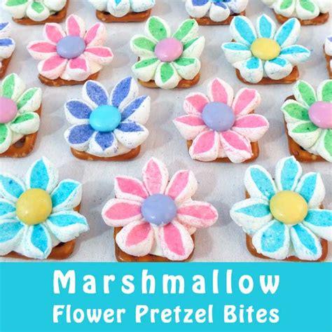 marshmallow flower pretzel bites  sisters