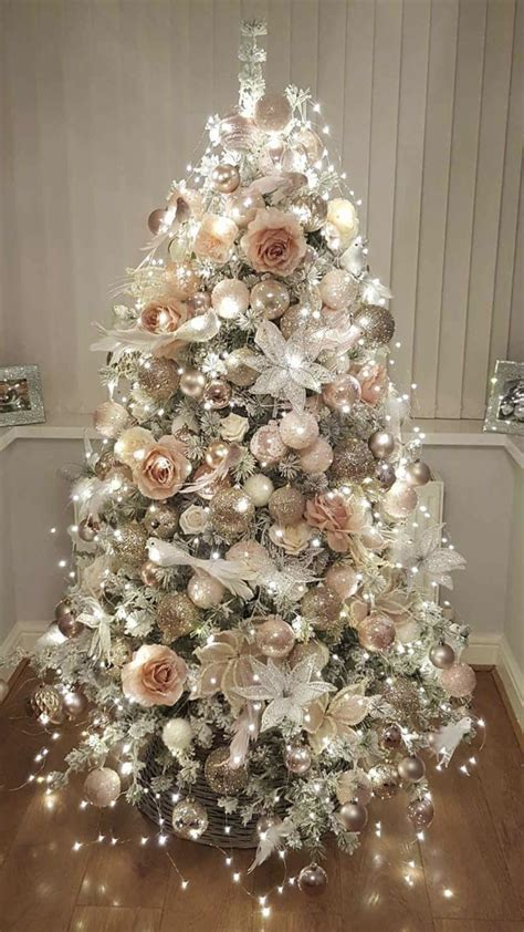 rose gold  bush pink flocked christmas tree happy