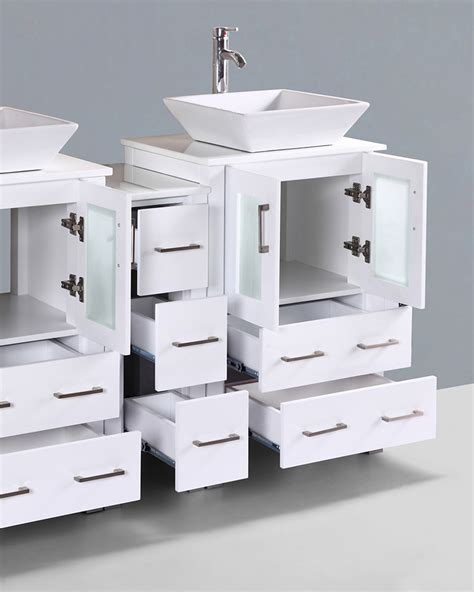 square vessel sink vanity white 60in square vessel sink double vanity by bosconi