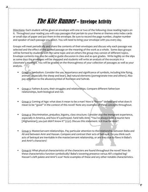 The Kite Runner – Envelope Activity