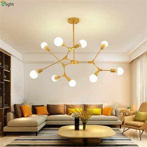 modern diy led chandeliers lighting gold black metal