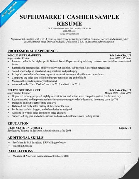 Cashier Description For Resume by Supermarket Cashier Resume Sles Across All Industries