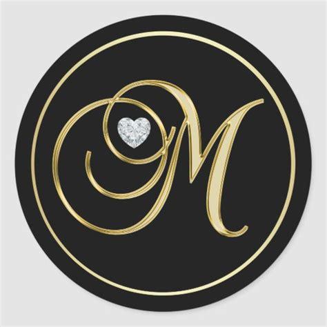 elegant black gold monogram letter  heart diamond classic  sticker zazzlecom