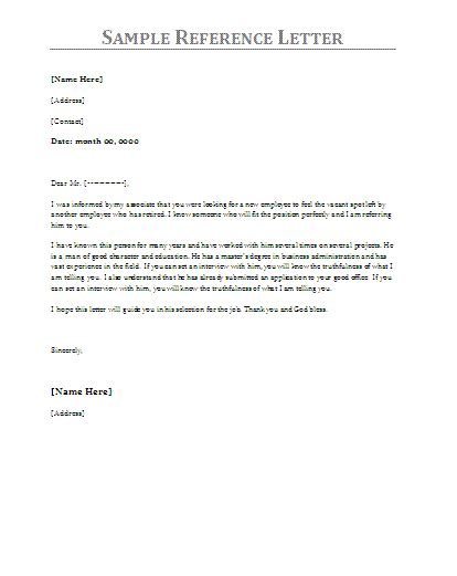 reference letter samples  word templates