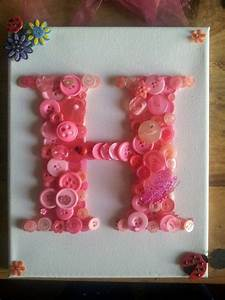 Button art canvas alphabet letter h letters pinterest for Letter canvas
