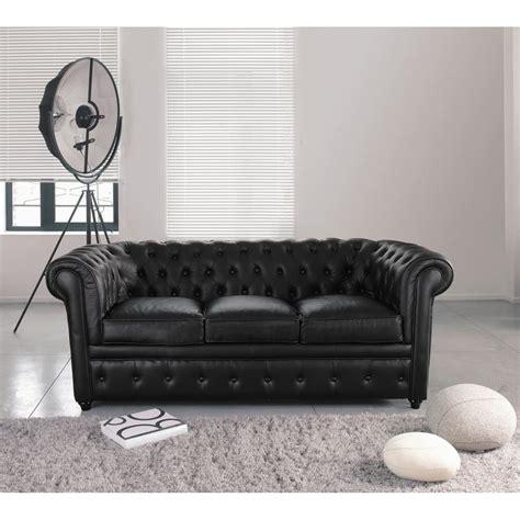 divano cuoio divano imbottito in cuoio nero 3 posti chesterfield