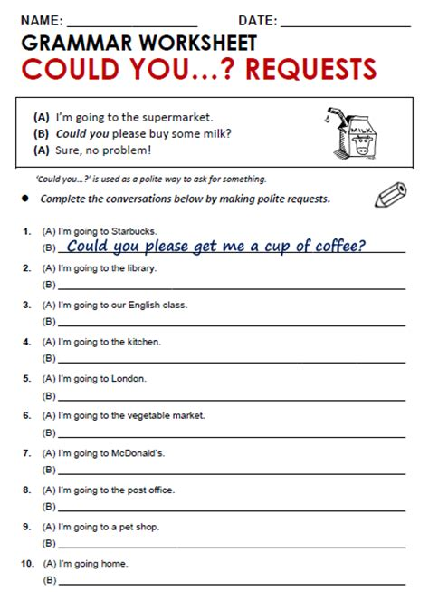 worksheets on requests could you requests all things grammar